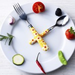 Tableware and food as a clock